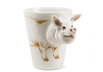Picture of Pig Handmade 8oz Coffee Mug White