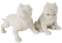 Picture of Pit Bull Terrier Handmade Unpainted Ceramics Mini Unpainted Cruet Set Unglazed