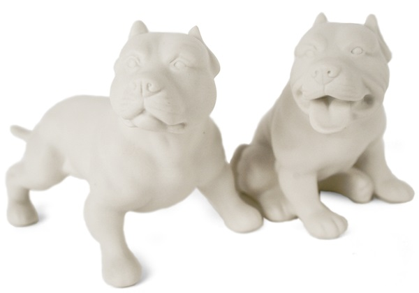 Picture of Pit Bull Terrier Handmade Unpainted Ceramics Mini Unpainted Cruet Set Unglazed