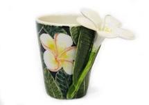 Picture of Plumeria Flower Handmade 8oz Coffee Mug White