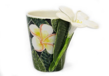 Picture of Plumeria Flower Handmade 8oz Coffee Mug White