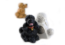 Picture of Poodle Handmade Mini Fridge Magnet Black