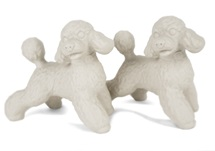 Picture of Poodle Handmade Unpainted Ceramics Mini Unpainted Cruet Set Unglazed