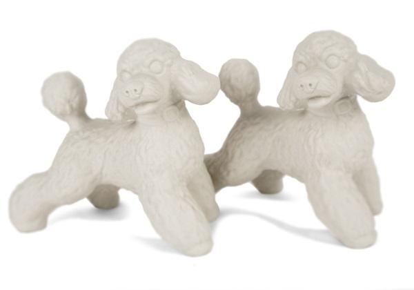 Picture of Poodle Handmade Unpainted Ceramics Mini Unpainted Cruet Set Unglazed