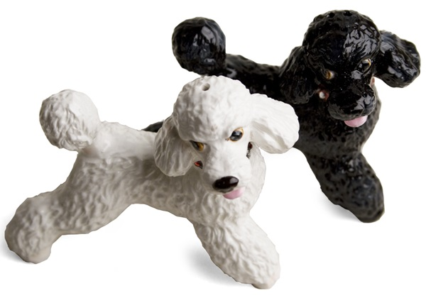 Picture of Poodle Handmade Mini Cruet Set White And Black