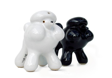 Picture of Poodle Handmade Ceramic Small Cruet Set Black And White