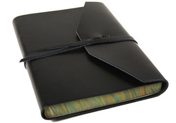 Picture of Positano Handmade Leather Wrap A5 Journal Black Plain