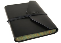 Picture of Positano Handmade Leather Wrap A5 Journal Black lined