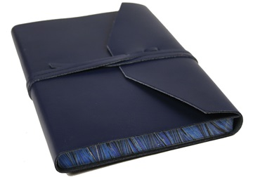 Picture of Positano Handmade Leather Wrap A5 Journal Navy Plain