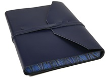 Picture of Positano Handmade Leather Wrap A5 Journal Navy lined