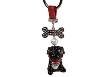 Picture of Pug Handmade Mini Key Ring Black