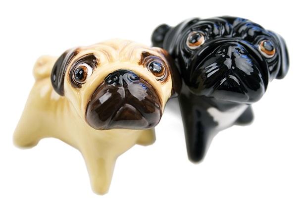Picture of Pug Handmade Mini Cruet Set Fawn And Black