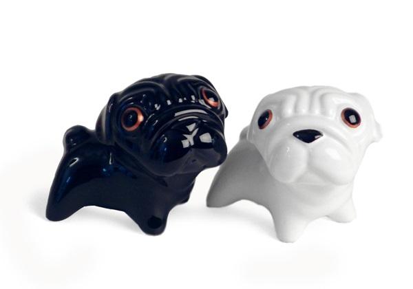 Picture of Pug Handmade Ceramic Small Cruet Set Black And White