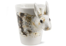Picture of Rabbit Handmade 8oz Coffee Mug White And Brown
