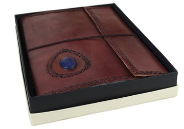 Picture of Ra Handmade Leather Bound Stone A4 Journal Chestnut Plain