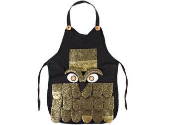 Picture of Ragworks Adult Black Gold Sari Big Chef Owl Apron