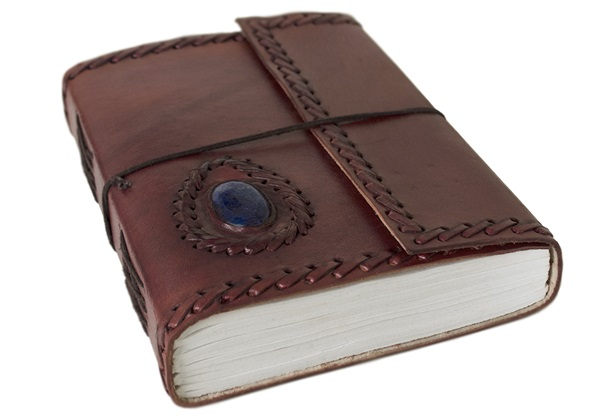 Picture of Ra Handmade Leather Bound Stone A5 Journal Chestnut Plain