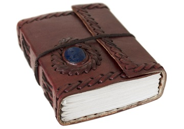Picture of Ra Handmade Leather Bound Stone A6 Journal Chestnut Plain