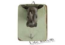 Picture of Rhino Handmade Rustic Single Wall Hook Rhino Grey