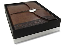 Picture of Romano Classico Handmade Recycled Leather Wrap Large Photo Album Chestnut