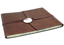 Picture of Romano Handmade Recycled Leather Wrap Extra Large Guest Book Chestnut
