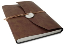 Picture of Romano Handmade Recycled Leather Wrap A4 Journal Chestnut lined