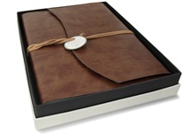 Picture of Romano Handmade Recycled Leather Wrap A4 Refillable Journal Chestnut Plain