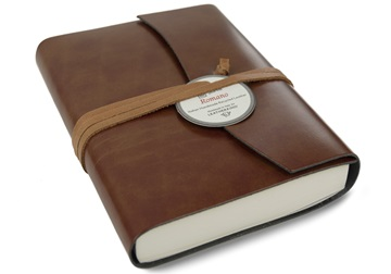 Picture of Romano Handmade Recycled Leather Wrap A5 Journal Chestnut Plain