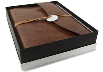 Picture of Romano Handmade Recycled Leather Wrap Large Photo Album Chestnut