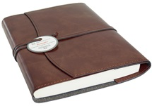 Picture of Romano Handmade Recycled Leather Wrap A5 Refillable Journal Chestnut Plain