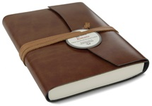 Picture of Romano Handmade Recycled Leather Wrap A6 Journal Chestnut Plain