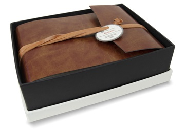 Picture of Romano Handmade Recycled Leather Wrap Small Photo Album Chestnut
