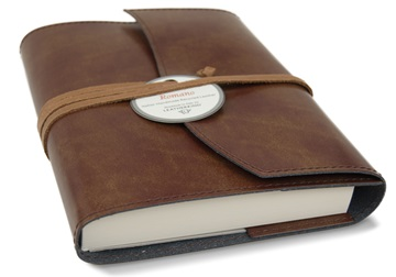 Picture of Romano Handmade Recycled Leather Wrap A6 Refillable Journal Chestnut Plain