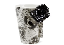 Picture of Rose Flower Handmade 8oz Coffee Mug Black