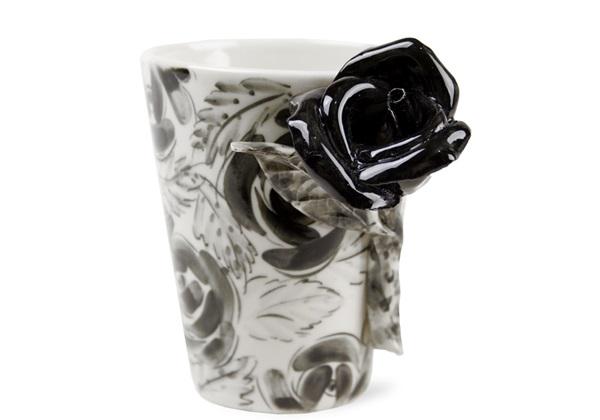 Picture of Rose Flower Handmade 8oz Coffee Mug Black