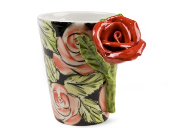 Picture of Rose Flower Handmade 8oz Coffee Mug Red