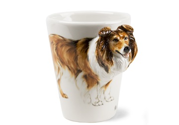Picture of Rough Collie Handmade 8oz Coffee Mug Tri Color