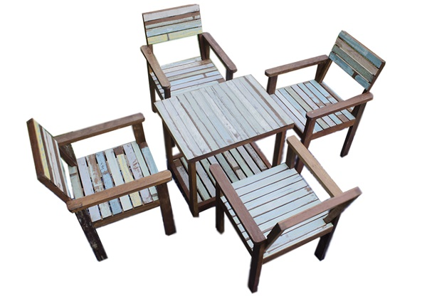 Picture of Rustic Beach Handmade Reclaimed Four Seater Dining Set Antique Pastel