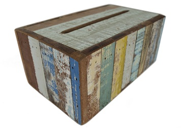 Picture of Rustic Beach Handmade Reclaimed Large Tissue Box Antique Pastel