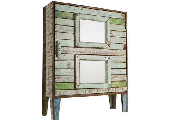 Picture of Rustic Beach Handmade Reclaimed Cameo Medium Cabinet Antique Pastel