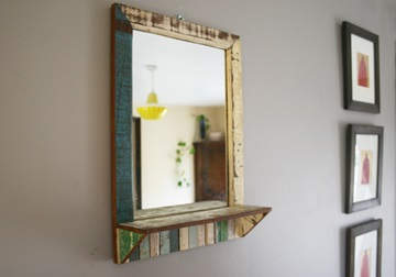 Picture of Rustic Beach Handmade Reclaimed Medium Mirror Antique Pastel