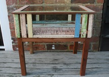 Picture of Rustic Beach Handmade Reclaimed Medium Side Table Antique Pastel