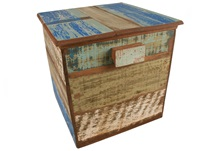 Picture of Rustic Beach Handmade Reclaimed Medium Storage Box Antique Pastel