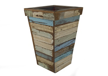 Picture of Rustic Beach Handmade Reclaimed Medium Waste Paper Basket Antique Pastel