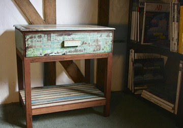 Picture of Rustic Beach Handmade Reclaimed Single Drawer Bedside Table Antique Pastel