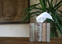 Picture of Rustic Beach Handmade Reclaimed Small Tissue Box Antique Pastel