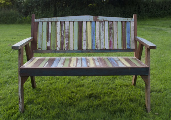 Picture of Rustic Beach Handmade Reclaimed Two Seater Garden Bench Antique Pastel