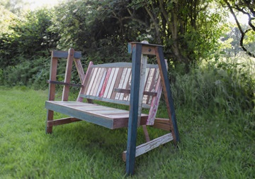 Picture of Rustic Beach Handmade Reclaimed Two Seater Swing Bench Antique Pastel