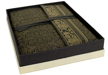 Picture of Sari Handmade Handbound A4 Journal Black Plain