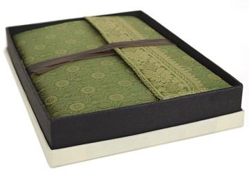 Picture of Sari Handmade Handbound A4 Journal Olive Plain